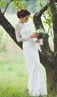 Romantic Fitted Style Long Lace Sleeves High Neck Wedding Dress – June Bridals