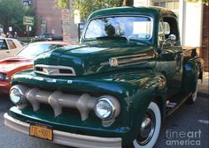 Title 1952 Ford Pick Up Truck Front And Side View Artist John Telfer Medium Photograph Old Pickup Trucks, Old Ford Trucks, Classic Chevy Trucks, Classic Cars, Lifted Trucks, Pick Up, 1952 Ford Truck, Ford F Series, Old Fords