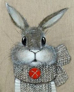 Bunny Art in Gray White Red Button Colorful Drawings, Cute Drawings, Illustrations, Illustration Art, Rabbit Art, Bunny Art, Funny Bunnies, Whimsical Art, Folk Art