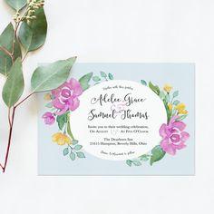 Printable Wedding Invitations — Watercolor Wedding Invitations – Wedding or Bridal Shower Invitation in Blue, Gray, Navy, Purple or Green