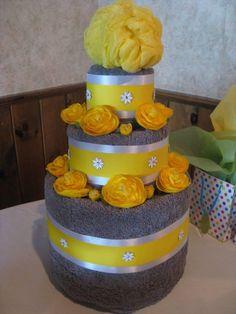 Wedding Towel Cake by shoretopleasedesigns on Etsy, $60.00