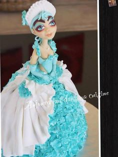 Blue doll vanilla chocolate-brown 50 cms Cake by CécileBeaud