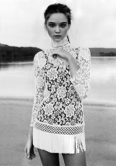 """ Editorial: ""Soft Focus"" Magazine: Vogue Australia Issue:April 2010 Model: Rosie Tupper Photographer: Nicole Bentley Stylist: Naomi Smith Want more editorials like this one? Rosie Tupper, White Lace, White Dress, Dress Lace, Fringe Dress, Cream White, Black White, Mod Dress, Lace Dresses"