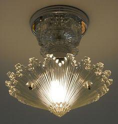 C 30's Art Deco Vintage Ceiling Light Fixture Chandelier American Antique Lamp | eBay