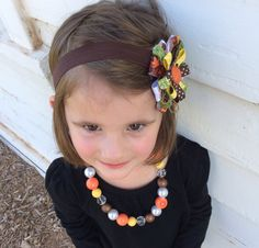 Vibrant Autumn/Fall headband with ribbon and hair bow attached. Gumball necklace with assortment of fall colors and matching bracelet. Great