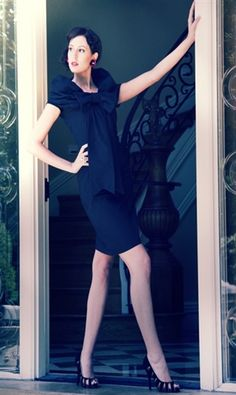 Black Dress with Black Wrap Around Collar and Bow 53.00 Shabby Apple