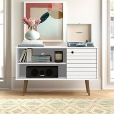 Latitude Run® Connie-Agnes TV Stand | Wayfair Small Tv Stand, Floating Entertainment Center, Entertainment Centers, Floating Tv Stand, Solid Wood Tv Stand, Cool Tv Stands, Cube Bookcase, Coffee Table With Storage, Wood Cabinets
