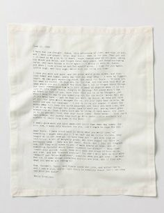 Letterology: literary table napkins/ typewritten letters of Emily Dickinson, Jack London et at (Anthropologie)