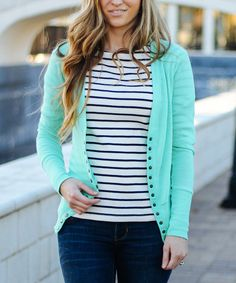 Another great find on #zulily! So Perla Mint Snap Cardigan by So Perla #zulilyfinds