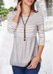 Round Neck Long Sleeve Stripe Print T Shirt | Rosewe.com - USD $25.91