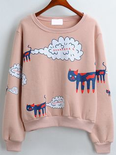 Cat Print Loose Pink Sweatshirt 12.67
