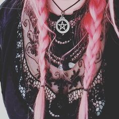 Pentacle  Pink hair  Lace  Witch