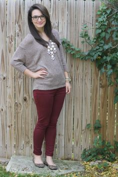 burgundy twill pants ~ Dillards