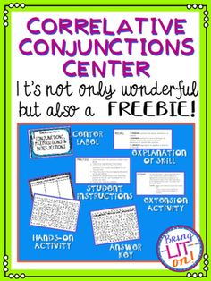 FREEBIE! Correlative Conjunctions Center