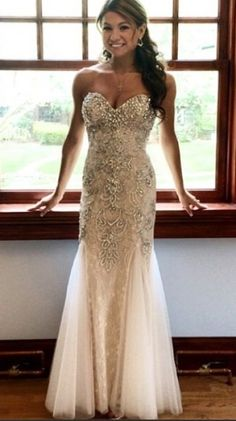 cf539567a1ac6 Sabrina Wears Mac Duggal Style 81719M in White. This ivory prom dress  features vintage stones
