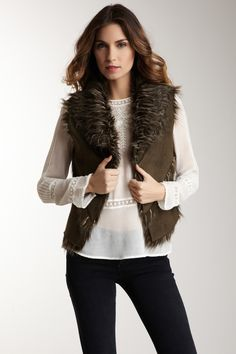 Dolce Cabo Faux Suede & Fur Vest// I think I must have this!!