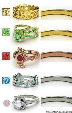 Avatar: The Last Air Bender rings! For the nerd in me :) The white lotus ring looks gorgeous!