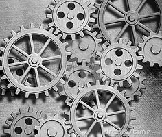 Clockwork gears and cogs metal background by Andreykuzmin, via Dreamstime