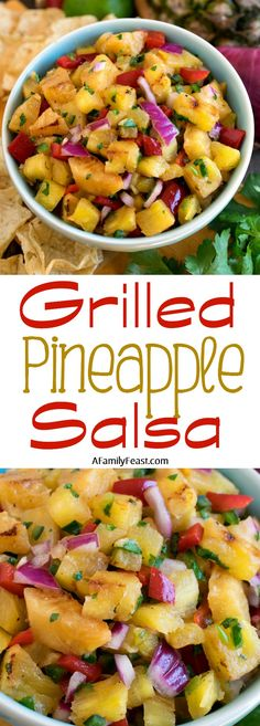 Grilled Pineapple Salsa - This easy salsa has fantastic flavor! Grilling Recipes, Lunch Recipes, Pasta Recipes, Mexican Food Recipes, Appetizer Recipes, Great Recipes, Dinner Recipes, Cooking Recipes, Favorite Recipes