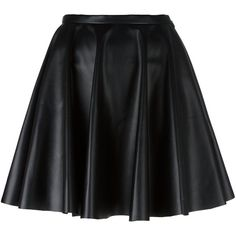 Giamba leather effect a-line skirt (1,090 MYR) ❤ liked on Polyvore featuring skirts, black, giamba, leather skirt, knee length leather skirt, real leather skirt and knee length a line skirt
