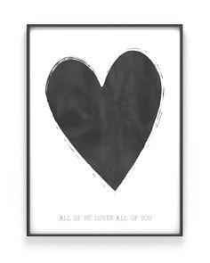 Poster met Hart - Maak hem zelf bij Printcandy + Kies een ontwerp + Pas kleuren aan + Voeg tekst of naam toe = Je eigen unieke '1 of a kind' Poster