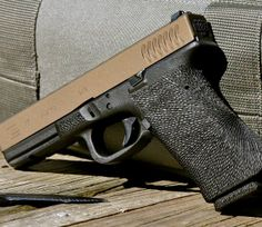 Complete polymer pistol modifications, specializing in custom stippling of Smith and Wesson M&P, Glock, Springfield XD, Kahr and other polymer pistols. Glock Stippling, Glock Mods, Firearms, Shotguns, Custom Guns, Guns And Ammo, Hand Guns, Weapons, Pew Pew