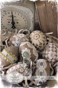 Twine and lace Easter eggs -**My Desert Cottage**: tutorials Plastic Easter Eggs, Easter Egg Crafts, Spring Crafts, Holiday Crafts, Easter Egg Designs, Hoppy Easter, Easter Décor, Easter Tree, Easter Ideas