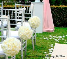 Wedding Flower Balls Set of 6 9 inch by Elegantweddingdecor, $210.00