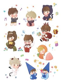 Embedded image Exo Anime, Anime Chibi, Exo Stickers, Laptop Stickers, Kai Arts, Exo Fan Art, Doodles, Kids Rugs, Kawaii