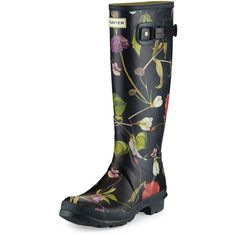 Hunter Boot Original Tall Floral-Print Rain Boot ($175) ❤ liked on Polyvore featuring shoes, boots, black multi, black flats, wide rain boots, rubber boots, black wellington boots and rain boots