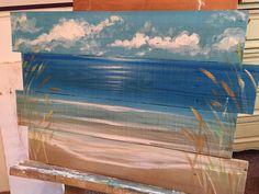 Ocean beachscape pallet art sign nautical door SoulSisterPalletShop