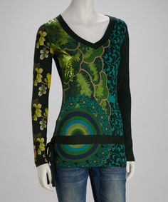 Take a look at this Green & Teal Tie Top by Desigual on #zulily today!