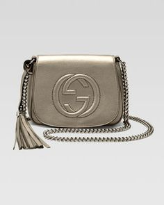 Soho Metallic Leather Chain Crossbody Bag, Gunmetal by Gucci at Bergdorf Goodman.