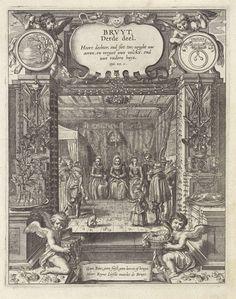 Adriaen Pietersz. van de Venne   Bruid tijdens haar huwelijksfeest, Adriaen Pietersz. van de Venne, Anonymous, Jacob Cats (1577-1660), 1625 - 1635   Een bruid, geflankeerd door twee vrouwen, zittend op een stoel tijdens haar huwelijksfeest. In het interieur andere mannen en vrouwen en een kind. Op de grond liggen bloemen. Op de voorgrond twee putti; een met een mand met kantwerk en de ander met een kist met juwelen. Tussen hen in een banderol met een tekst die aangeeft dat alleen ware liefde…