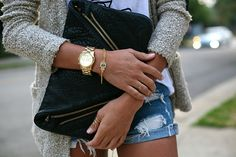 Love everything. The purse, the sweater, the shorts, the bracelet and the watch. Want it all