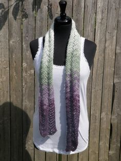 Lacy plum, green and white scarf