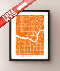 Edmonton Map Print by CartoCreative on Etsy