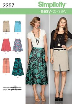 2257 Misses' Easy to Sew Skirts  Misses' slim and flared skirts, each in two lengths Easy to Sew pattern.