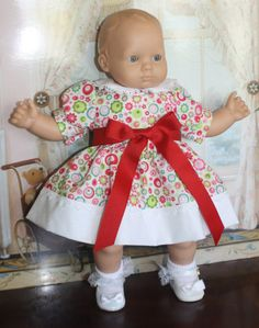 Bitty Baby Red Contemporary Floral Dress by RuthielovestoSew Bitty Baby Clothes, American Girl, Baby Dolls, Harajuku, Babies, Etsy Shop, Summer Dresses, Contemporary, Trending Outfits