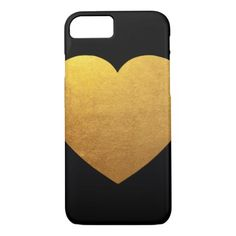 #simple - #Black and Gold Heart iPhone 7 Case