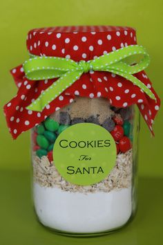 "Cookies in Jar for Santa--see the following link for the recipe: http://www.bakerella.com/mix-things-up/  Christmas M & Ms are used in place of the pink ones for the ""Santa"" recipe."