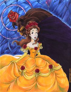 Disney's Beauty and the Beast (slight modifications by me on Belle's gown inspired by the Broadway performance version). Beauty and the Beast - Glass Disney Fan Art, Disney Love, Animation Film, Disney Animation, Beauty And The Beast Art, Disney Animated Films, Disney Crossovers, Disney Images, Prehistoric Creatures