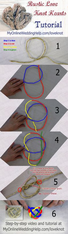 Glue to vase, mason jar, or weathered box. How to tie a love knot heart (hint: it's a trinity, a.k.a Celtic, knot made into a heart shape). Detailed instructions are on the page. #myonlineweddinghelp