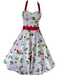 Pretty Kitty Fashion 50s Kirsche Weiß Rot NeckFourFlavor Abendkleid mit Gürtel, pink/beigeholder Kleid