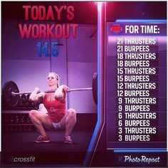 Today's workout is crossfit open workout 14.5! Complete 21-18-15-12-9-6-3…