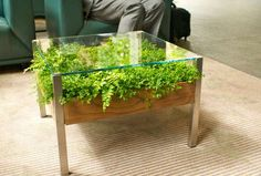 Fill Your Home With Greenery With The Living Table - Design Milk Terrarium Table, Planter Table, Planters, Patio Table, Diy Patio, Wood Table, Dining Table, Patio Plants, Indoor Plants