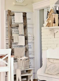 decorating for Christmas in the kitchen - loving this rustic ladder! #12days72ideas