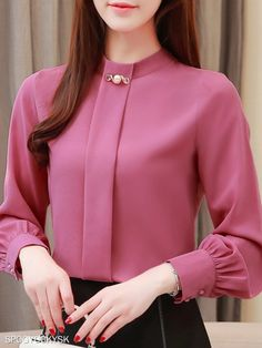 Band Collar Elegant Long Sleeve Blouse Band Collar Elegant Long Sleeve Blouse , formal dresses maxi dresses womens dresses summer dresses party dresses long dresses casual dresses dresses for wedding , # Stylish Dresses, Casual Dresses, Dresses Dresses, Long Dresses, Party Dresses, Cheap Dresses, Formal Dresses, Blouse Styles, Blouse Designs