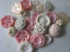 Vintage Buttons  Cottage chic mix of fancy pink by pillowtalkswf, $8.95