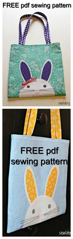 FREE pdf downloadable sewing pattern. The Bunny Face Bag is a quick sew and ideal for using up small cuts of fabric or scraps. Use left over fabrics from your child's new Easter outfits and make a matching bag to go with it! This is an ideal tote for kids to use to hunt Easter eggs or carry candy, books, or crayons.